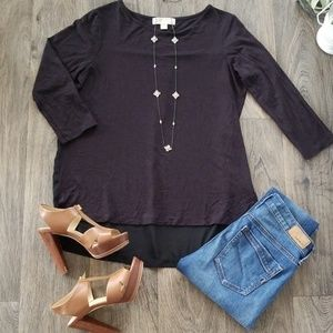 MichaelKors Black Crew Neck 3/4 Sleeve Tunic Shirt